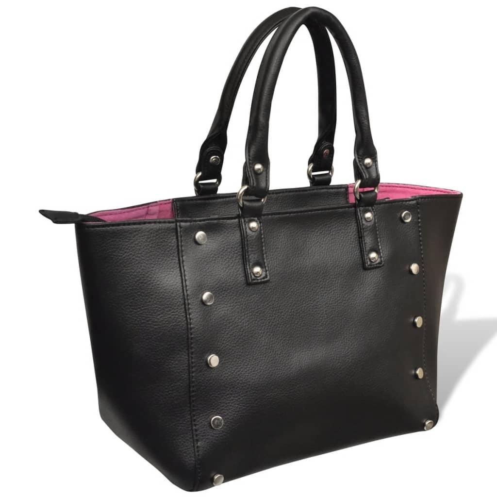 Černo-růžová shopper kabelka