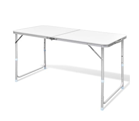 "Foldable Camping Table Height Adjustable Aluminum 47.2""x23.6"""
