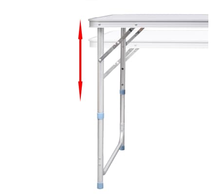 "Foldable Camping Table Height Adjustable Aluminum 47.2""x23.6""[6/8]"
