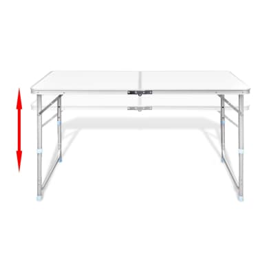 "Foldable Camping Table Height Adjustable Aluminum 47.2""x23.6""[4/8]"