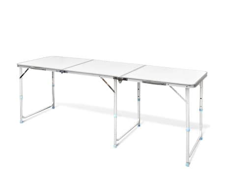 "Foldable Camping Table Height Adjustable Aluminum 70.9""x23.6""[1/6]"
