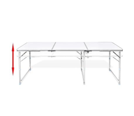 Foldable camping table height adjustable aluminium 180 x - Camping table adjustable height ...