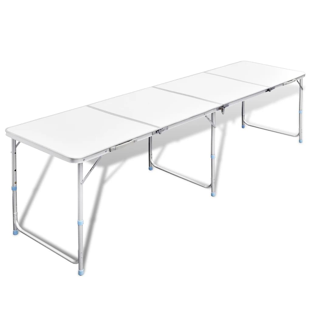 vidaXL Skládací kempingový stůl s nastavitelnou výškou 240 x 60 c m hliník