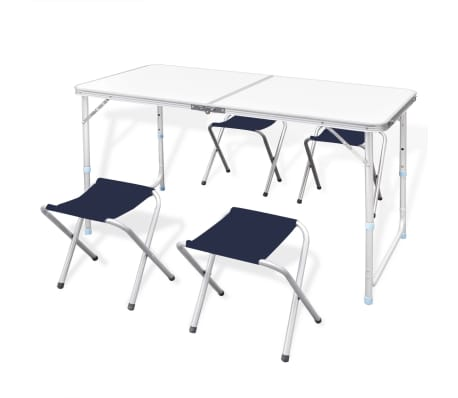 "Foldable Camping Table Set with 4 Stools Height Adjustable 47.2""x23.6""[1/9]"