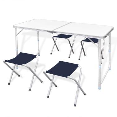 Składany stół kempingowy 4 krzesła i regulowana wysokość 120 x 60 cm[1/9]