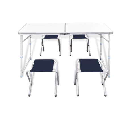 "Foldable Camping Table Set with 4 Stools Height Adjustable 47.2""x23.6""[2/9]"