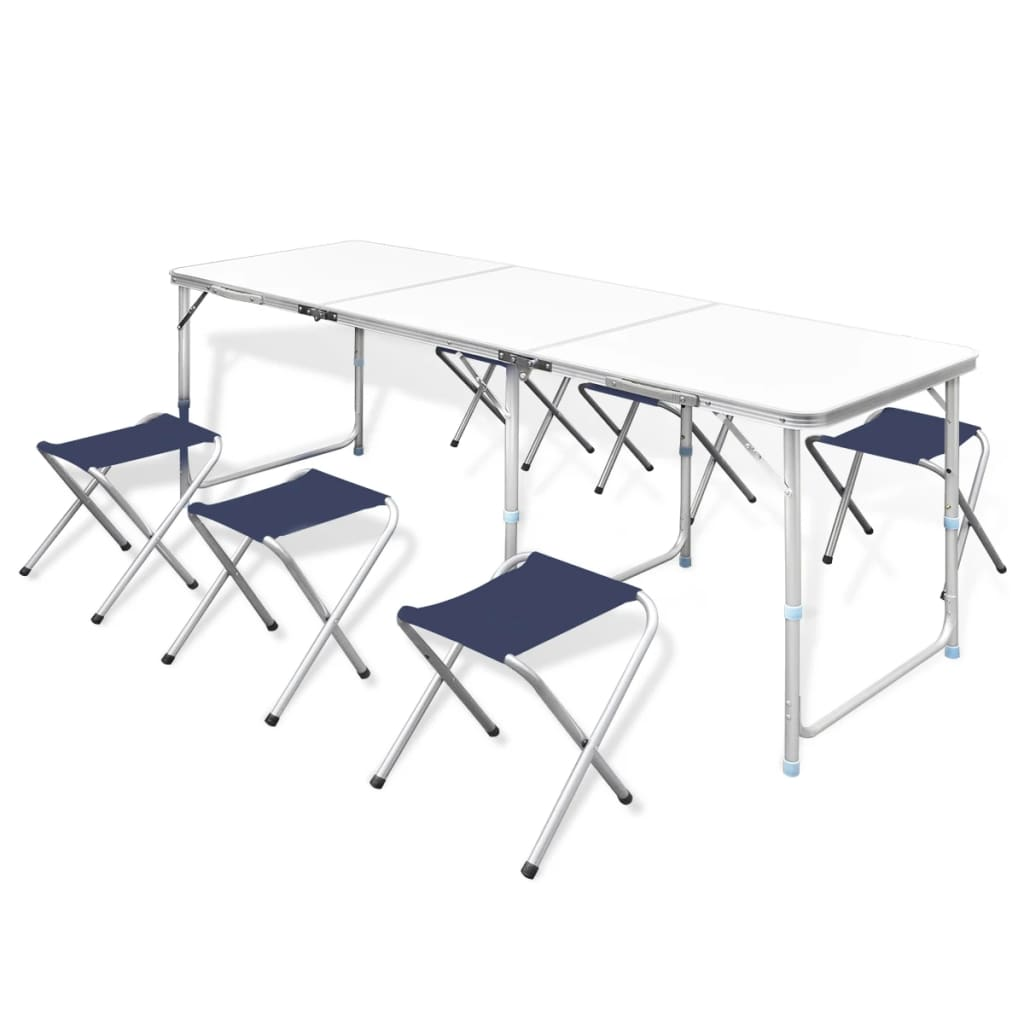 Skládací kempová sada stůl a 6 stoliček, nastavitelná výška 180x60 cm