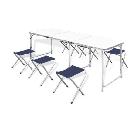 vidaXL Zestaw turystyczny: stół i 6 stołków, regulacja wysokości[1/10]