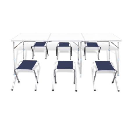 vidaXL Zestaw turystyczny: stół i 6 stołków, regulacja wysokości[4/10]
