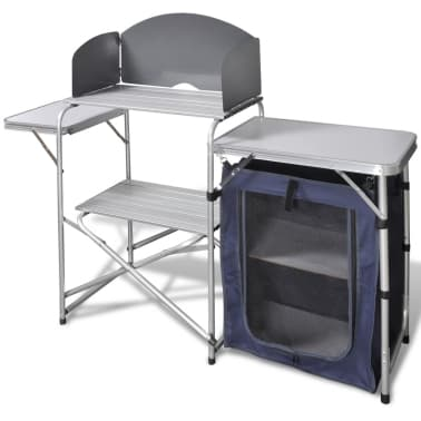 Foldable Camping Kitchen Unit with Windshield Aluminum[1/5]