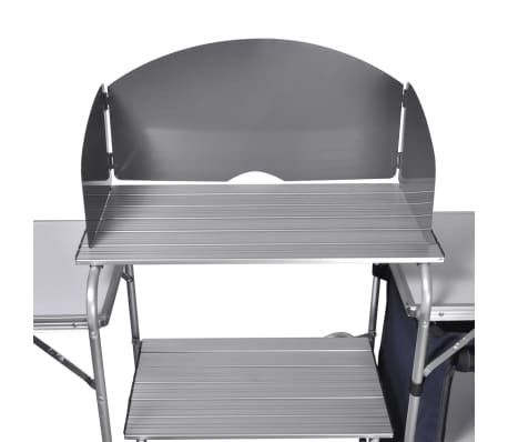 Foldable Camping Kitchen Unit with Windshield Aluminum[4/5]