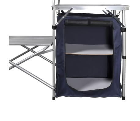 Foldable Camping Kitchen Unit with Windshield Aluminum[5/5]