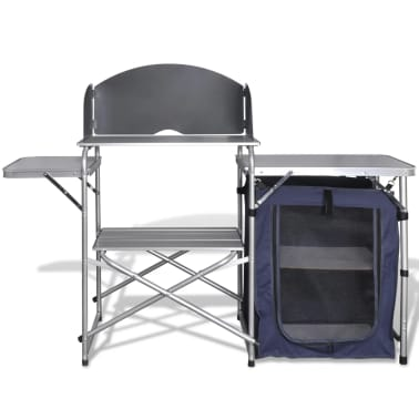 Foldable Camping Kitchen Unit with Windshield Aluminum[3/5]