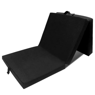 vidaXL Schuimmatras opklapbaar zwart 190x70x9 cm[1/4]