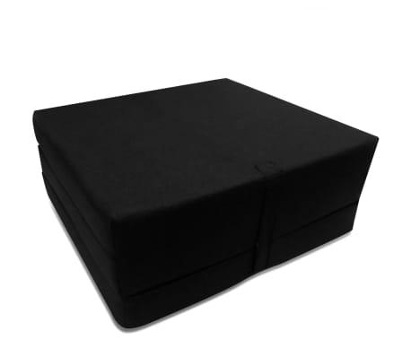 vidaXL Čiužinys, trijų dalių, putplastis, 190x70x9cm, juodas[2/4]