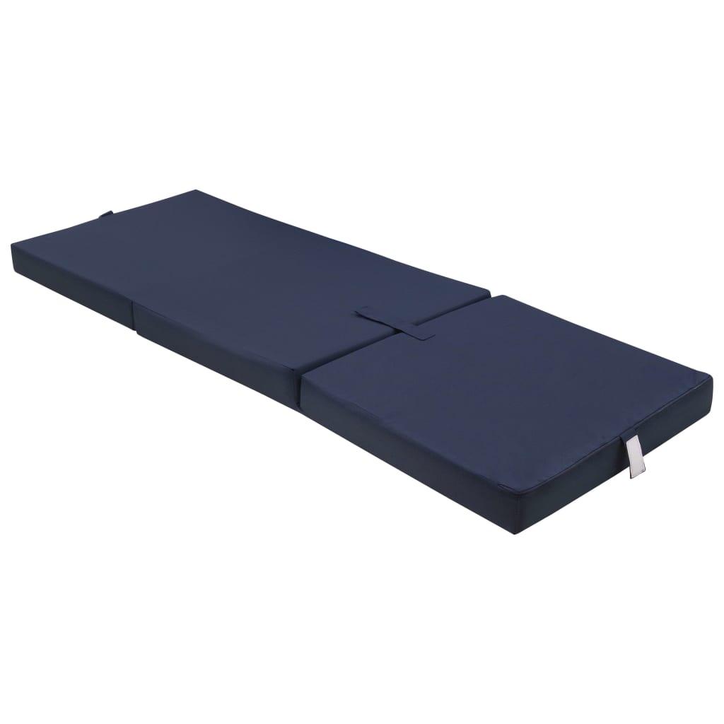 Trojdílná skládací pěnová matrace 190x70x9 cm modrá