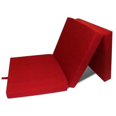 vidaXL Matelas en mousse pliable en 3 sections 190 x 70 x 9 cm Rouge[1/4]