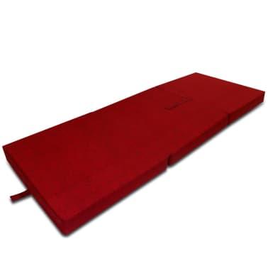 vidaXL Matelas en mousse pliable en 3 sections 190 x 70 x 9 cm Rouge[3/4]
