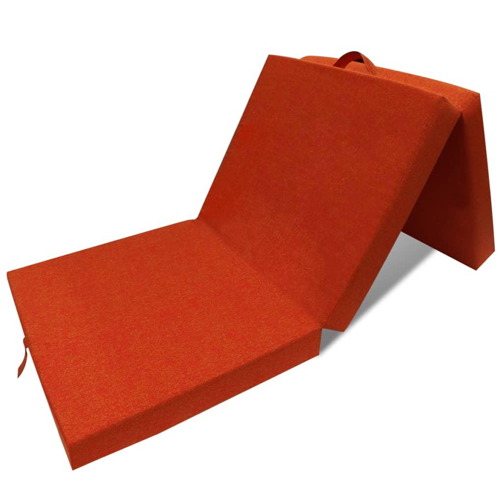 Trojdílná skládací pěnová matrace 190x70x9 cm oranžová