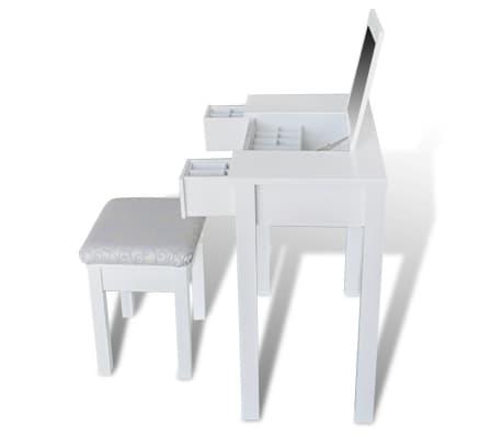 vidaXL Kaptafel met krukje en 1 spiegel wit[3/8]