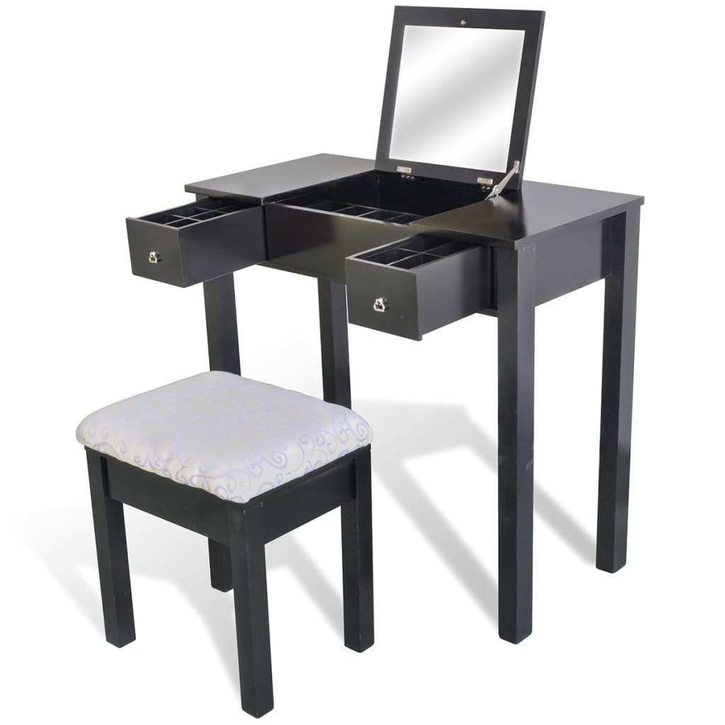 vidaXL Black Dressing Table with Stool and 1 Flip-up Mirror