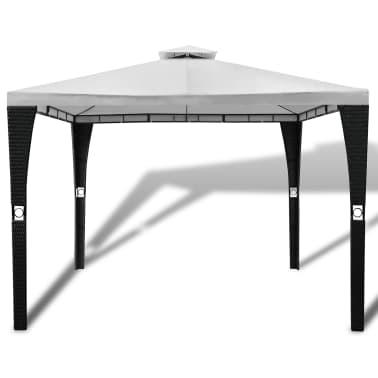 acheter vidaxl tonnelle en polyrotin avec toit blanc cr me 3 x 3 m pas cher. Black Bedroom Furniture Sets. Home Design Ideas
