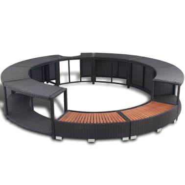 vidaXL Black Poly Rattan Spa Surround[2/7]