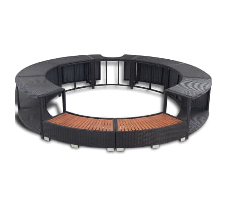 vidaXL Black Poly Rattan Spa Surround[3/7]