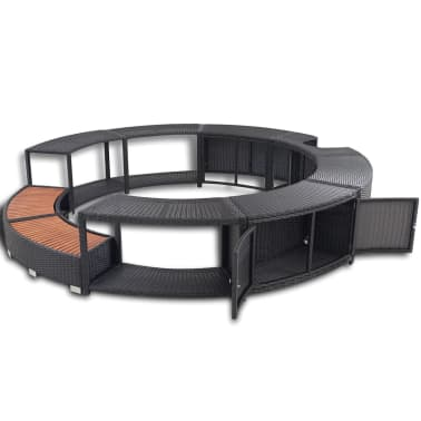 vidaXL Black Poly Rattan Spa Surround[4/7]