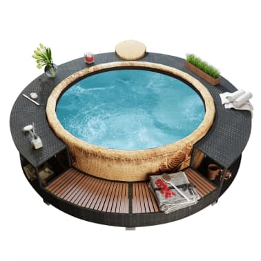 vidaXL Black Poly Rattan Spa Surround[1/7]