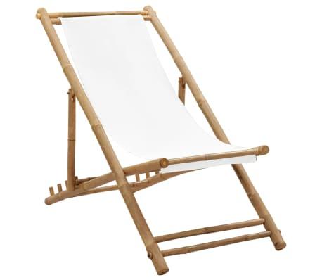 vidaXL Стол-шезлонг, бамбук и платно-picture