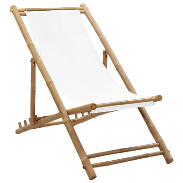 vidaXL Outdoor Deck Chair Bamboo and Canvas[1/6]
