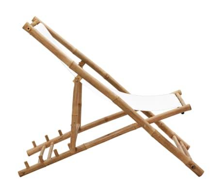 vidaXL Liegestuhl Klappbar Bambus und Segeltuch[3/6]