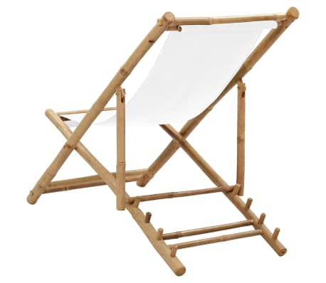 vidaXL Outdoor Deck Chair Bamboo and Canvas[4/6]