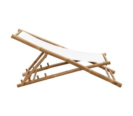 vidaXL Liegestuhl Klappbar Bambus und Segeltuch[5/6]