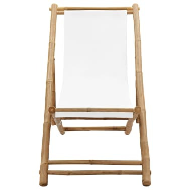 vidaXL Liegestuhl Klappbar Bambus und Segeltuch[2/6]