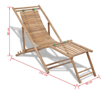 Stolica/ležaljka za sunce od bambusa , s naslonom za noge[7/7]