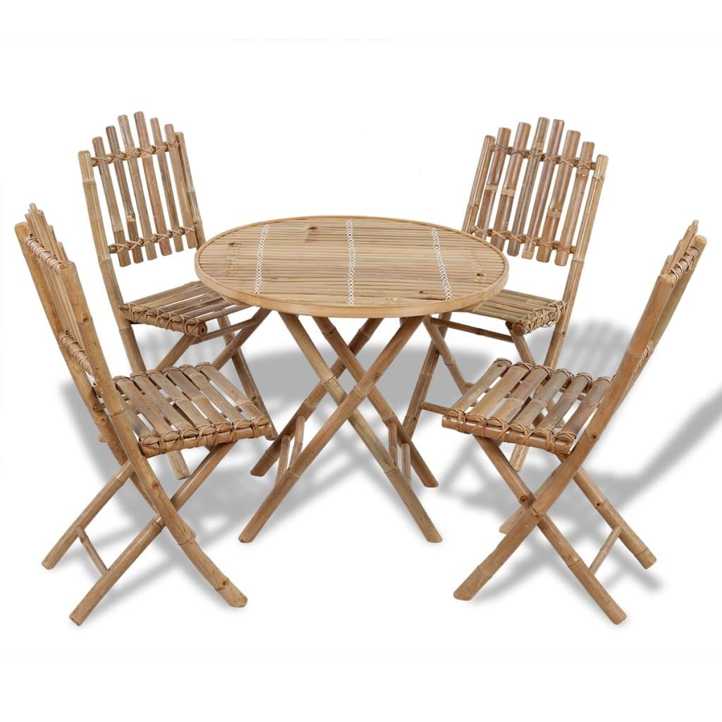 Tuinset bamboe inklapbaar 1 tafel + 4 stoelen