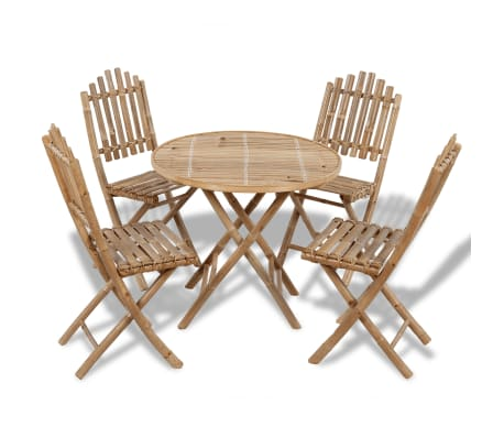 vidaXL udendørs spisebordssæt 5 dele foldbart bambus