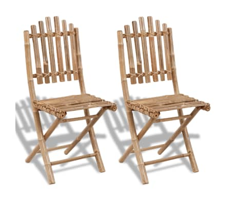 vidaXL Folding Garden Chairs 2 pcs Bamboo[1/6]