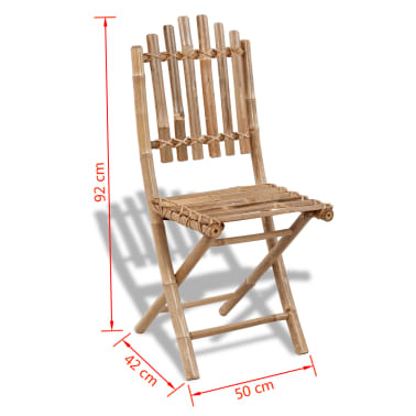 vidaXL Folding Garden Chairs 2 pcs Bamboo[6/6]