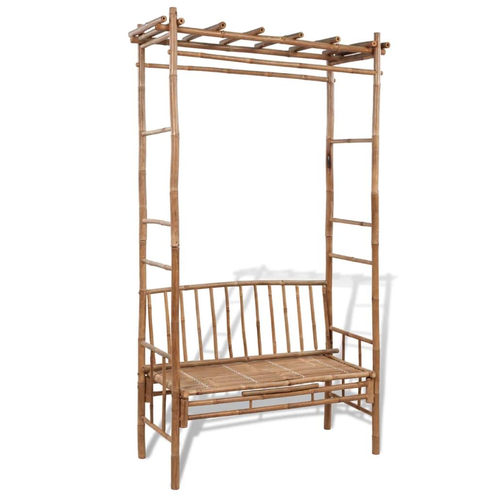 vidaXL Bambusová lavička s pergolou
