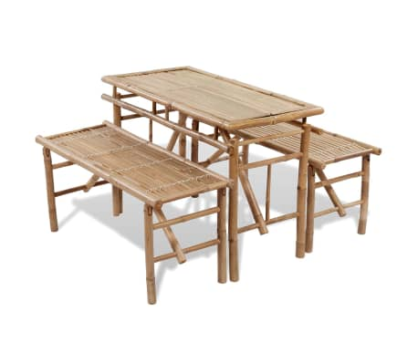 vidaXL Beer Table with 2 Benches 100 cm Bamboo