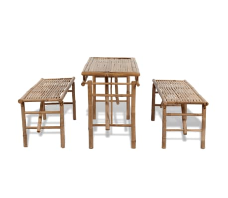 vidaXL Beer Table with 2 Benches 100 cm Bamboo[4/7]