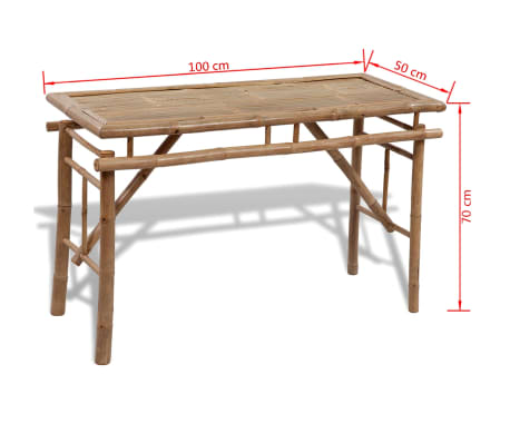 vidaXL Beer Table with 2 Benches 100 cm Bamboo[6/7]
