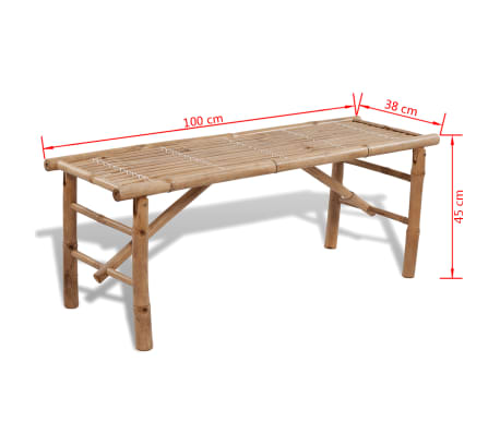 vidaXL Beer Table with 2 Benches 100 cm Bamboo[7/7]
