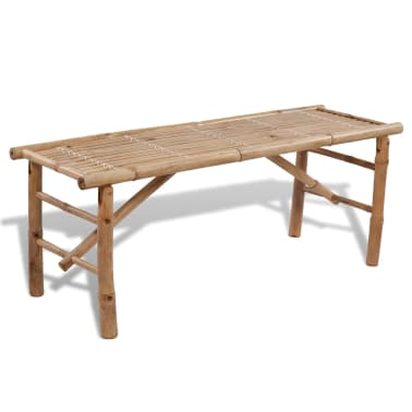vidaXL Beer Table with 2 Benches 100 cm Bamboo[3/7]