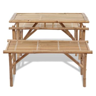 vidaXL Beer Table with 2 Benches 100 cm Bamboo[5/7]