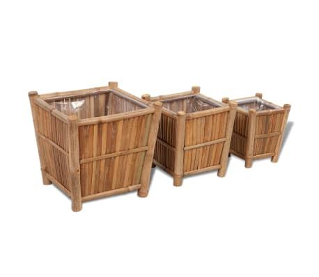 vidaXL Planter Set 3 Pieces Bamboo with Nylon Lining[1/6]
