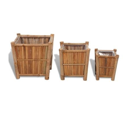 vidaXL Planter Set 3 Pieces Bamboo with Nylon Lining[2/6]